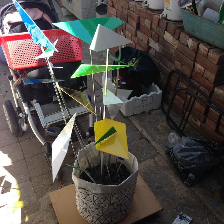 """60th decorations - garden piece.  Not in situ! Client had a blue/green geometric invite and said """"nothing cheesy, no balloons, no gold or silver."""""""