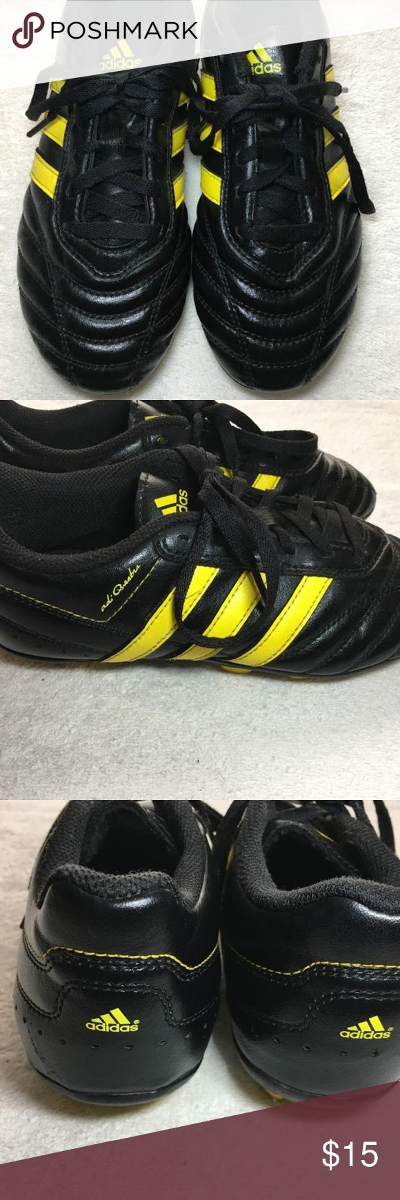 ADIDAS Adi Questra Youth Soccer Cleats size 2.5 Pre-Owned Excellent condition Adi Questra Youth Soccer cleats.  Size 2.5 G18640 Black and Yellow adidas Shoes Sneakers