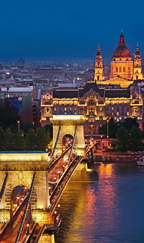 #Budapest, #Hungary. Chain Bridge and St. Stephen's Basilica. #travel #rivercruise #vantagetravel #vacation