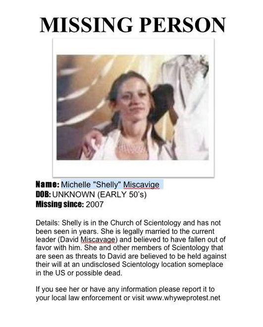 Shelly Miscavige (wife of Scientology leader David Miscavige) missing since 2006