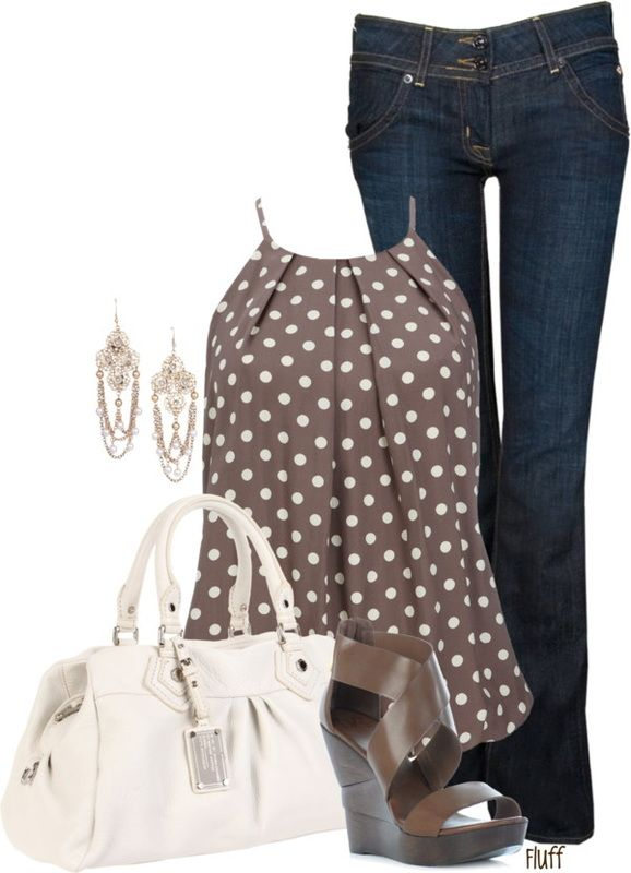 Casual Outfit: Pretty Woman, Polka Dots, Jeans Outfits, Polkadot, Fashionista Trends, Casual Outfits, Work Outfits, Night Outfits, Woman Outfits