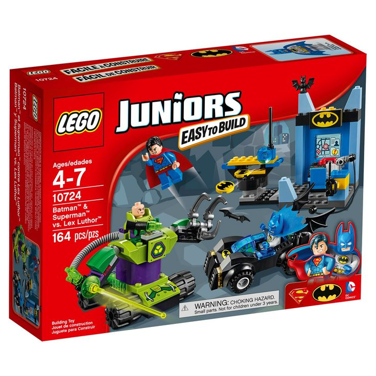 LEGO® Juniors Batman™ & Superman™ vs. Lex Luthor™ 10724:<br>Help Batman™ and Superman™ take on Lex Luthor™ in his robotic vehicle, including the Batmobile™ and the Batcave. Features Easy to Build models and 3 minifigures. Suit up alongside Batman™ and Superman™ and prepare to take on Lex Luthor™! Get the Batmobile™ ready and arm the Batcave's bat-disk shooter. Help Superma...
