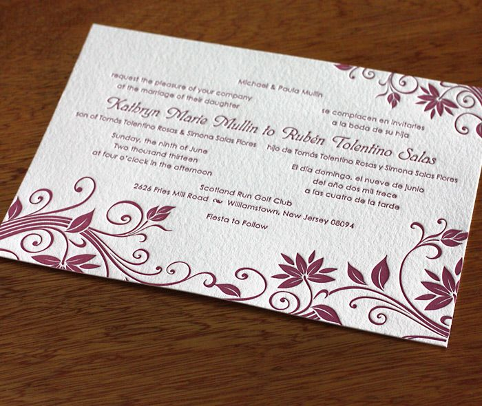 Bilingual Letterpress Wedding Invitation In Katelynn Featuring A Beautiful  Burgundy Ink. | Invitations By Ajalon
