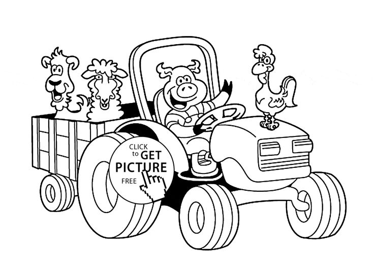 funny farm animal in tractor coloring page for kids animal coloring pages printables free