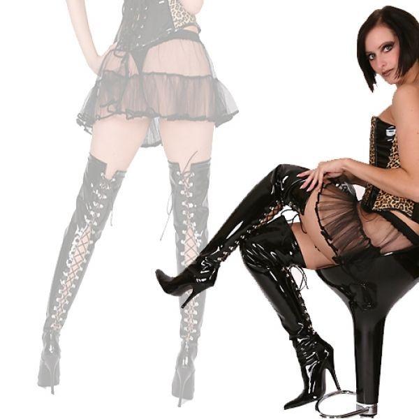Overkneestiefel Schuhe schwarz neu Boots Stiletto Lackstiefel Damenstiefel Hot