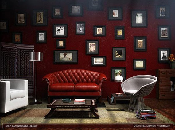 Dark Red Living Room And Hang Photos On Fishing Line Against The Wall Part 66