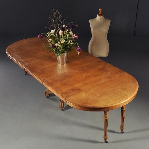 Antieke tafels / Franse eetkamertafel / coulissentafel ca. 1875 blond eikenhout (No.