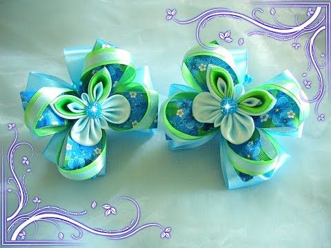 Ribbon flowers \ Цветы из лент \ мастер класс Канзаши \ DIY \ Цветок kanzashi - YouTube