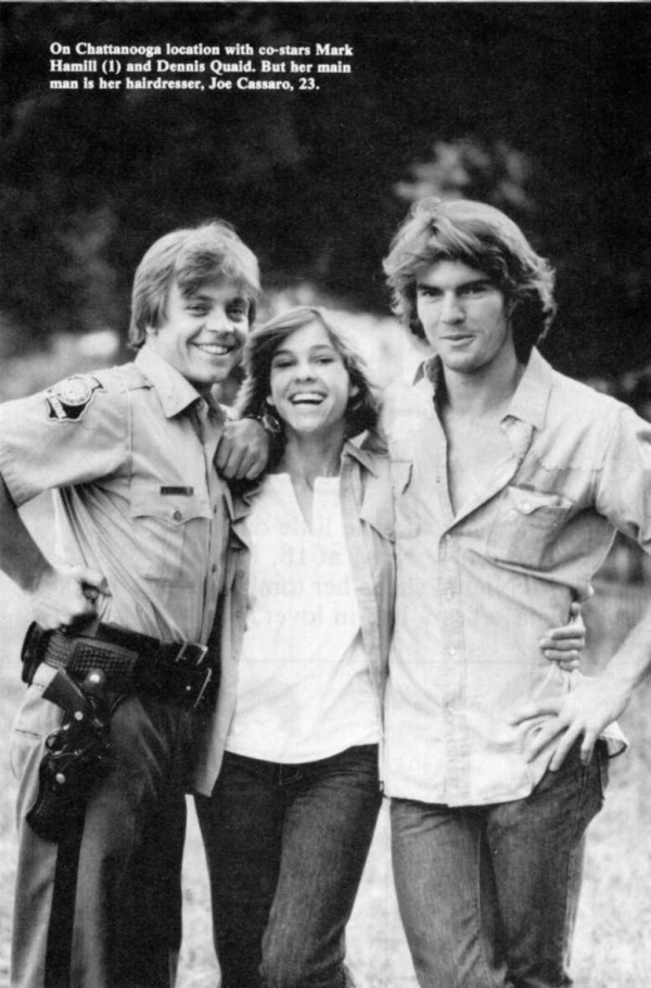Kristy McNichol, Dennis Quaid and Mark Hammil on the set The Night The Lights Went Out In Georgia