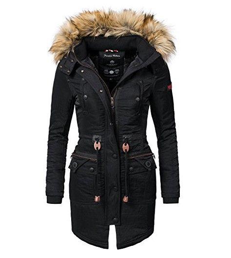 Marikoo Damen Mantel Wintermantel Winterparka Mangala Schwarz