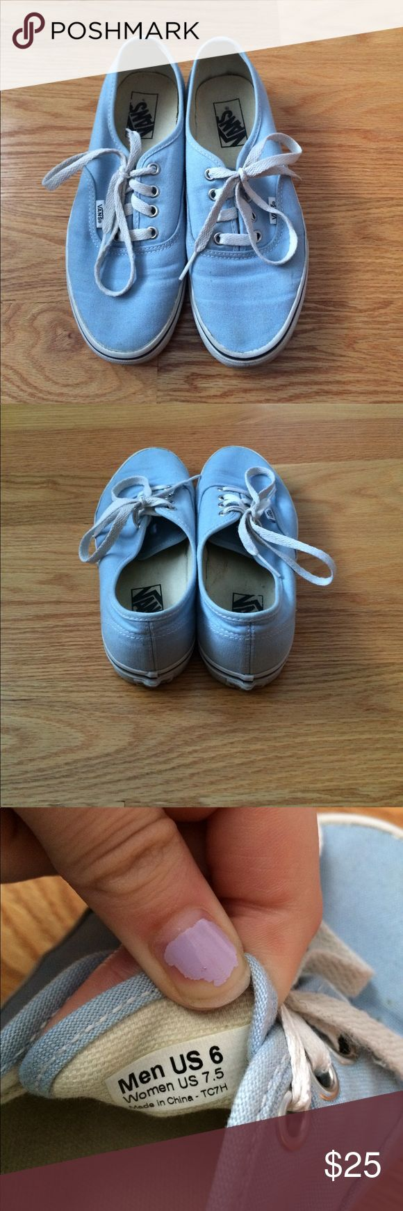 Vans Shoes Light blue vans, size 7.5 in woman's and 5 in men's, good condition, not warn many times, my name is on the inside so I would just have to cross that out. Vans Shoes Sneakers