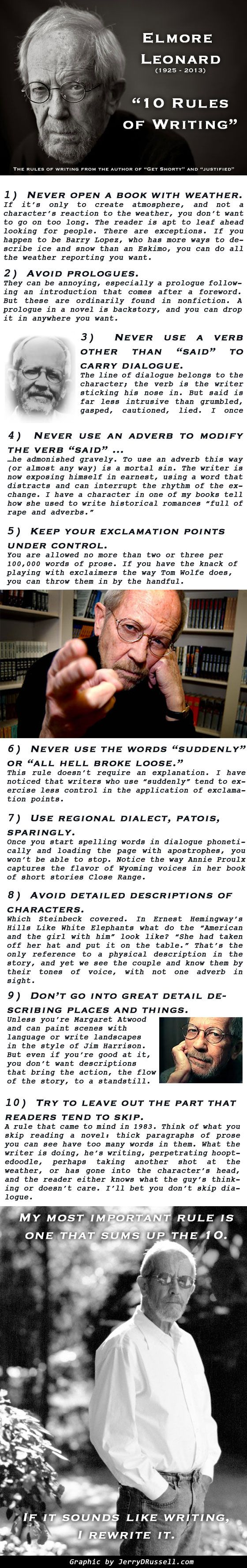 Elmore Leonard's Rules for Writing - A Tribute to a Great Writer [infographic]