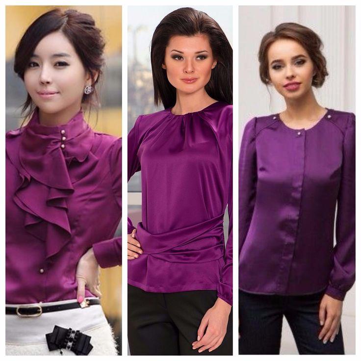 С чем носить и сочетать фиолетовую блузку?