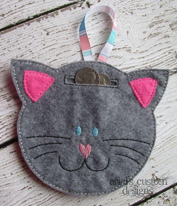 Felt Hanging Kitten Cat Piggy Bank by ArielsCustomDesigns on Etsy