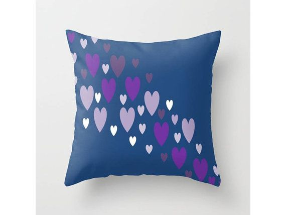"Asymmetrical hearts (Blue, Lavender, Purple) Throw Pillow Indoor & Outdoor Cover (16"" X 16"", 18"" X 18"", 20"" X 20"")"