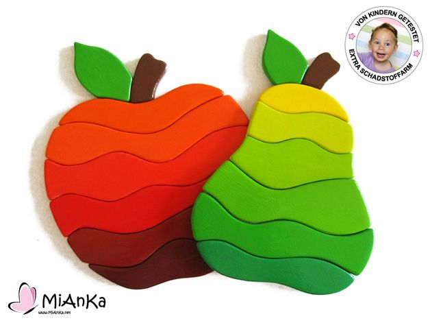 Houten Puzzel Set Apple & Pear