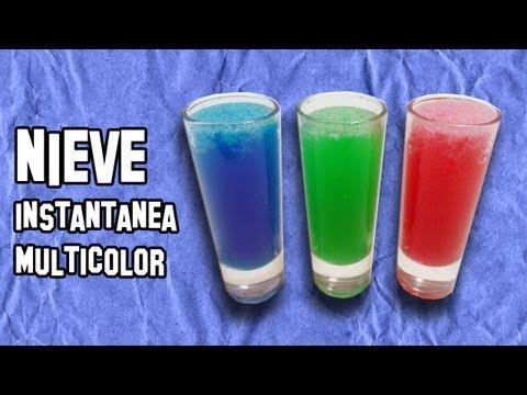 Experimentos Caseros   Como Hacer Nieve Instantánea Multicolor - YouTube