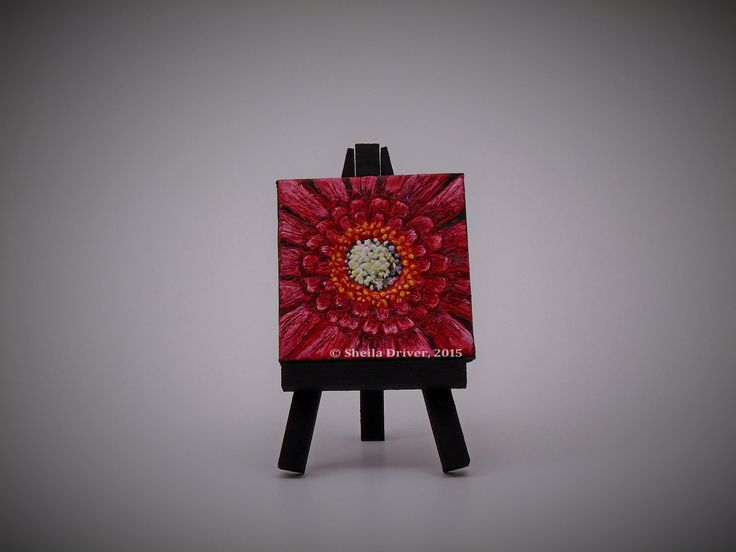 "Title: Petite Dahlia Size: 2.75'' x 2.75"" (7 cm x 7 cm)  This is an original encaustic painting, created entirely from a wax medium applied to a mini canvas frame, and comes with its own mini easel. This work is part of a series of paintings called Du Jardin, (meaning ""From the Garden"" in English)."