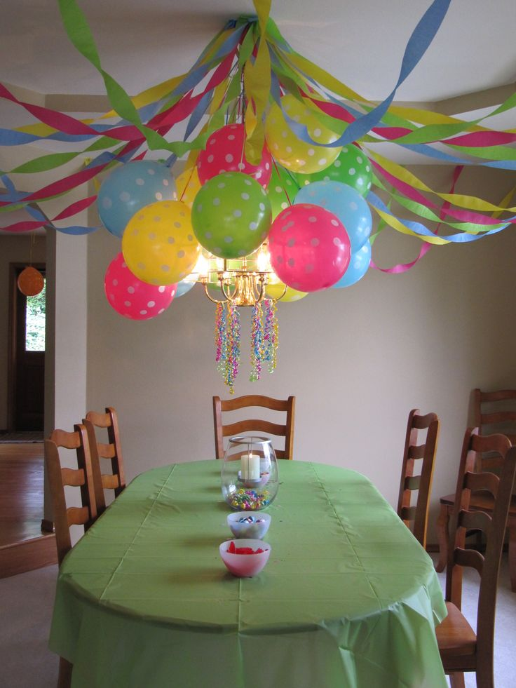 birthday party decoration polka dot balloons crepe paper streamers and curling ribbons hanging from the dining room chandelier