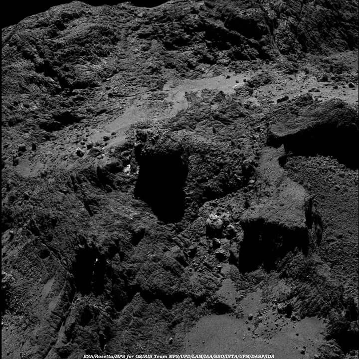 Another incredibly detailed image of the surface of Comet 67P/C-G, taken on 2 July 2016 with the OSIRIS narrow-angle camera on board Rosetta, 17.2 km from the nucleus. The image measures about 635 m across.  http://www.esa.int/spaceinimages/Images/2016/07/Comet_on_2_July_2016_OSIRIS_narrow-angle_camera  Credits: ESA/Rosetta/MPS for OSIRIS Team MPS/UPD/LAM/IAA/SSO/INTA/UPM/DASP/IDA