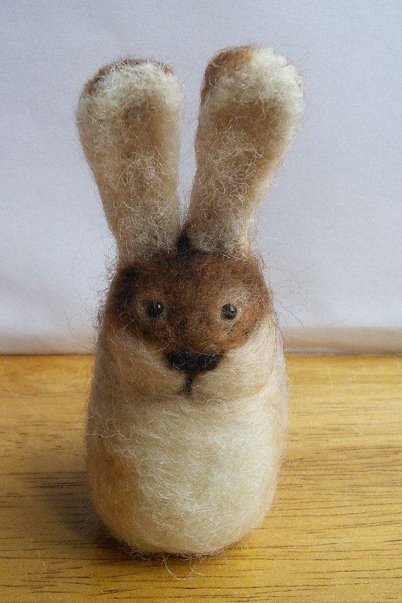 Needle Felt Wild Rabbit Natural Wool Small