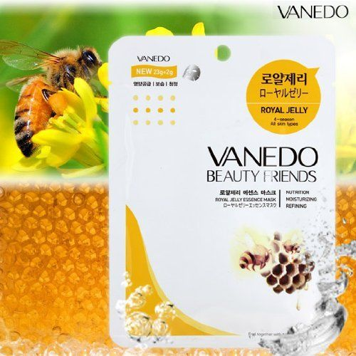 Vanedo Beauty Friends Sheet Mask from Korea - Royal Jelly (12 Sheets) by Beauty Friends. $14.00. All Skin Type. Made in Korea. Buy 5 Box Vanedo Sheet Mask Get 1 Box Free (Mix & Match). 4 Seasons. Water-soluble essence mask sheet pack is designed to deeply moisturize and condition the skin using concentrated natural plant extracts that help the skin absorb nutrients. The honey extracts help to soften the skin and is excellent in helping to heighten your skins moisture holding cap...