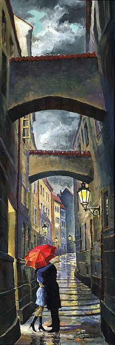 Prague Old Street Love Story by Yuriy  Shevchuk