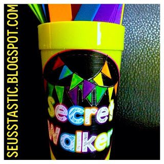 "Secret Walker: Place student names on popsicle sticks. Have the ""line leader"" choose a stick & show it to you. IF the chosen secret walker is quiet in the hall, they get a fuzzy or another type of reward. If they are not, they owe a fuzzy."