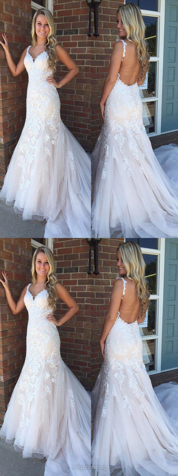 Lace Prom Dresses,Long Prom Dresses,2018 Prom Dresses Trumpet/Mermaid, Modest Prom Dresses V-neck, Tulle Prom Dresses For Teens Appliques #promdresses