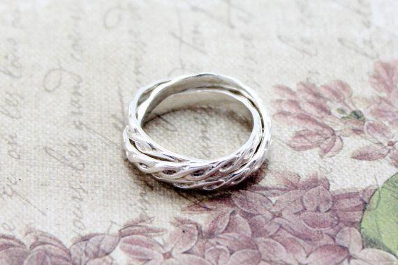 Silver Russian Wedding Ring Intertwined Rings by EmmalynnJewellery