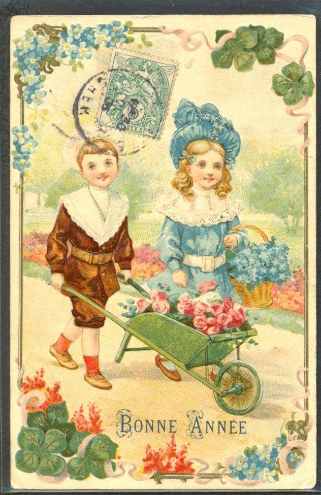 french new year postcard vintage happy new years pinterest vintage postcards vintage cards and vintage happy new year