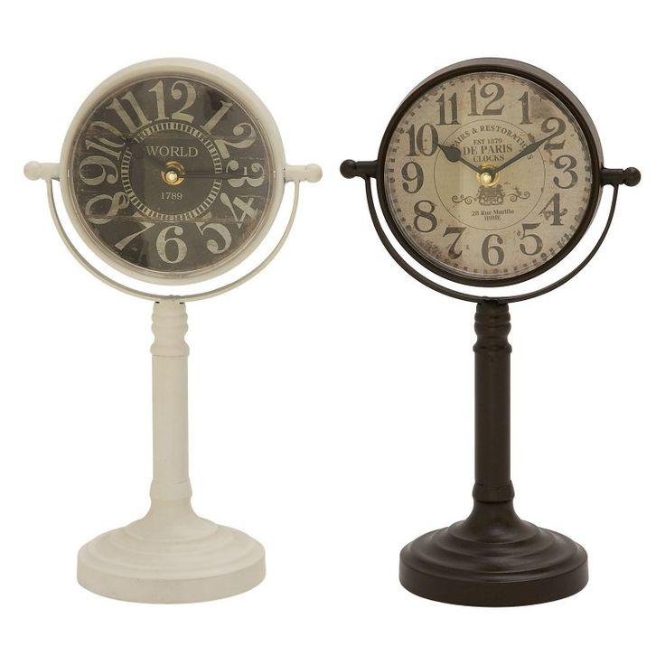 DecMode Attractive Metal Desktop Clock - Set of 2 - 92254
