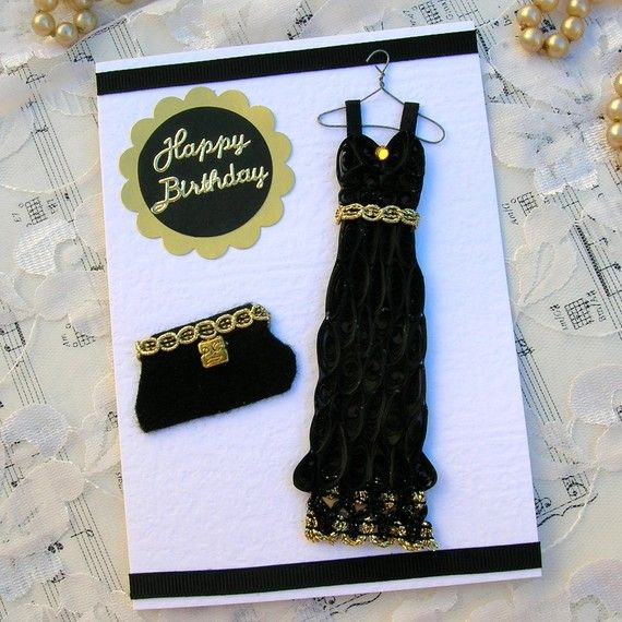 Paper Quilled Vintage Black DRESS with matching Evening BAG Handmade Greeting Card by Enchanted Quilling on Etsy