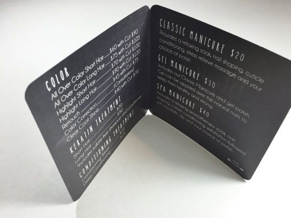 Chalkboard Pocket-Size Salon Menu Card for by pixelstopaper