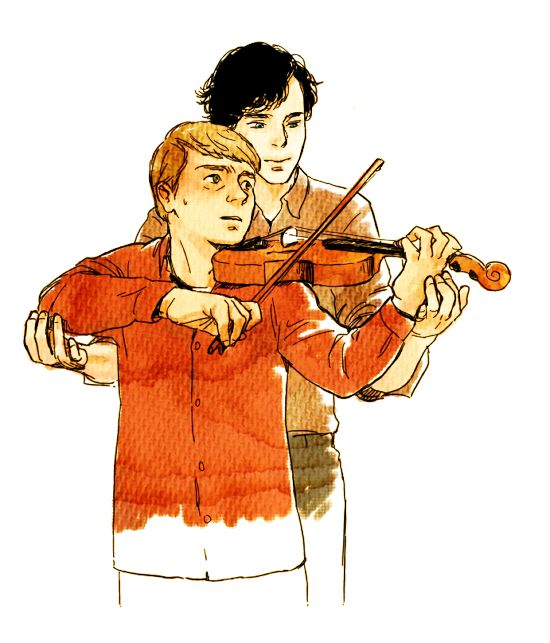 This is so lovely.  Sherlock bein' all sweet and teaching John how to play his violin. :)  #Johnlock