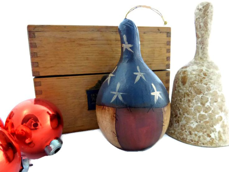 Americana Gourd, Mantle Decor, Americana Home Decor, Stars and Stripes, Handpainted, Patriotic Decor, Red White and Blue, Fourth of July by DistinctlyYouDesigns on Etsy