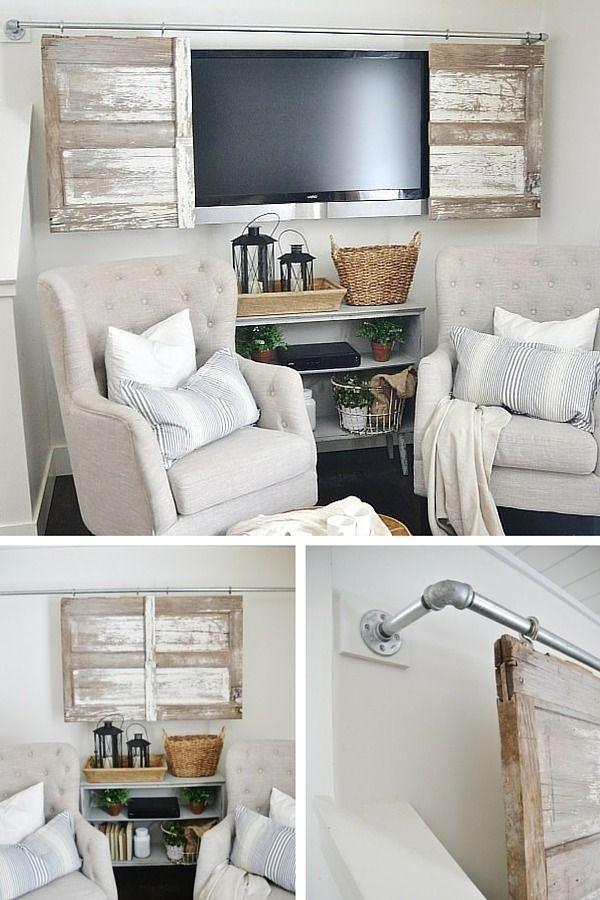 Un DIY avec une porte de grange pour cacher le coin TV http://www.homelisty.com/porte-de-grange/