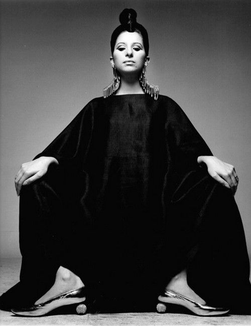 Barbra Streisand wearing Gres, 1960s.