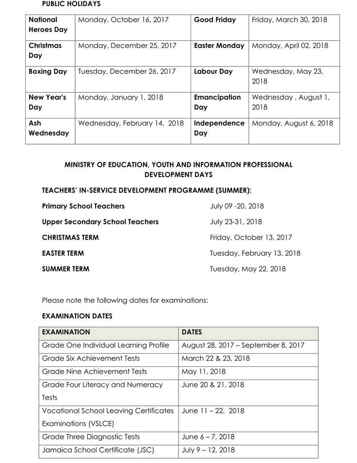Please find below Jamaica's Ministry of Education calendar of school terms and holidays for the academic year 2017 to 2018. It details the opening and closing dates for Jamaican schools, when examinations are taking place, and official dates for holidays.