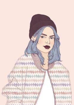 girl, beanie, illustration, bomberjacket