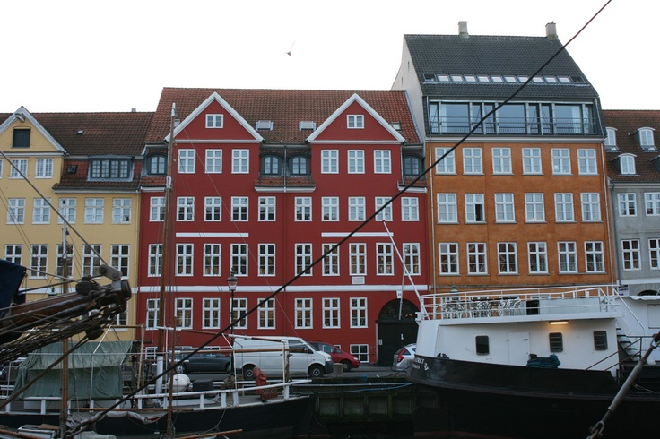 The red house in the Nyhaven district of Copenhagen, Denmark is where Hans Christian Andersen lived and wrote his first stories.