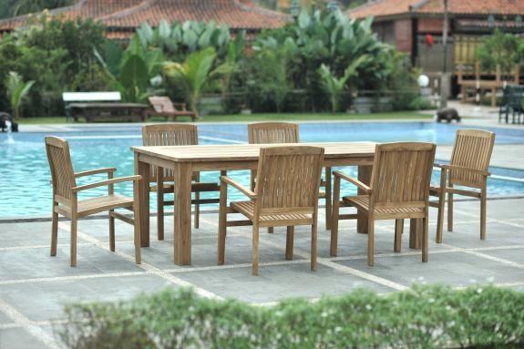 Outdoor Teakmöbel Set: 220x100cm Gartentisch + 6 Stapelstühle