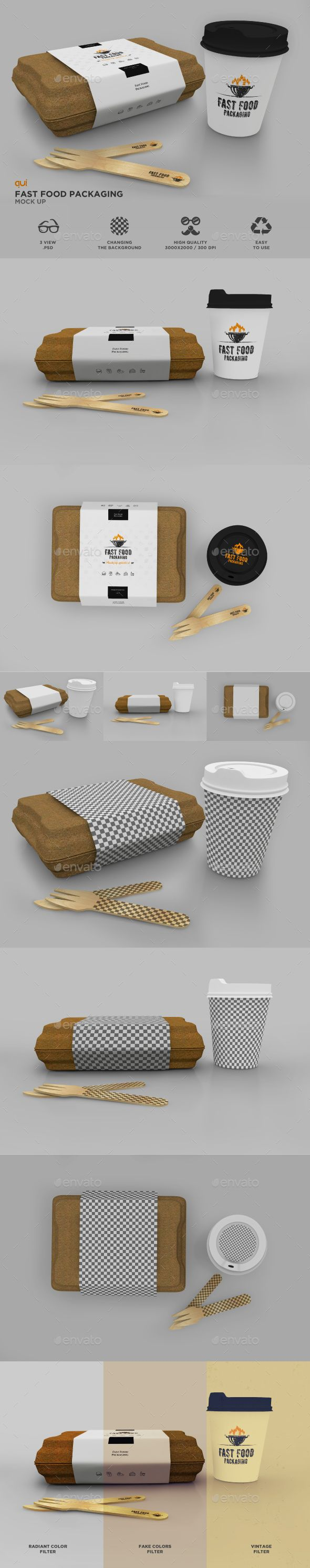 Packaging Set: Fast Food Box and Coffee Cup Mockup — Photoshop PSD #sandwich #eco • Download ➝ https://graphicriver.net/item/packaging-set-fast-food-box-and-coffee-cup-mockup/19186690?ref=pxcr