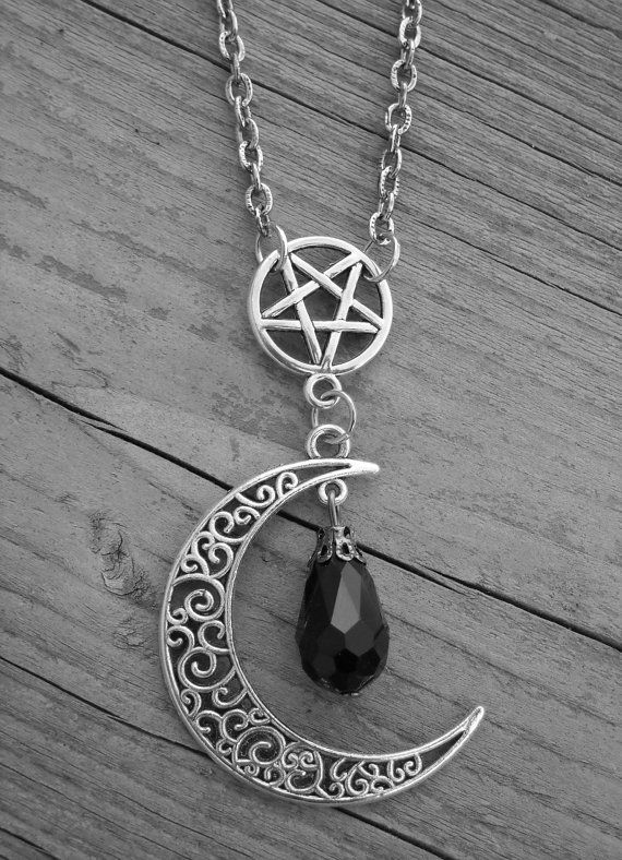 Silver Moon, Pentagram, and Black Crystal Bead Necklace by Ink & Roses 13