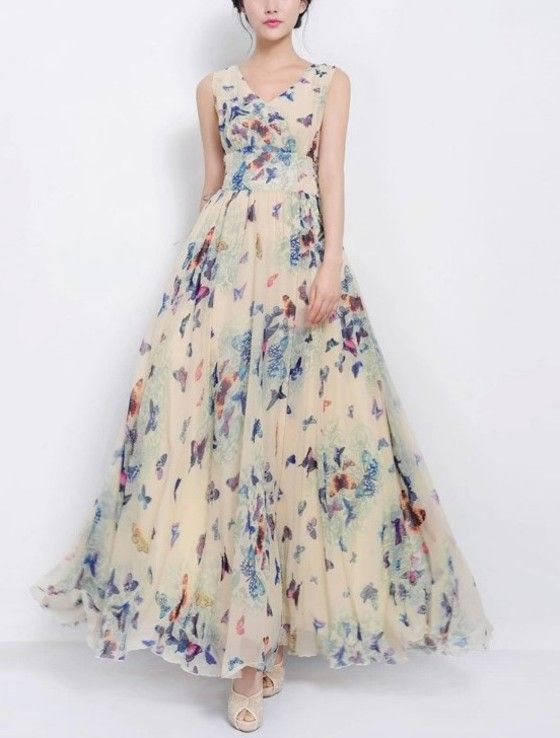 Shopo.in : Buy Mod Fashions Partywear Apricot Maxi Dress online at best price in Bangalore, India