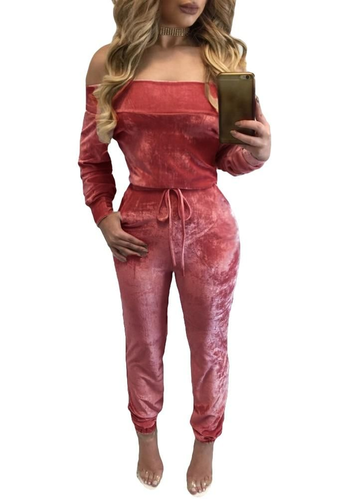 67669f0e11f New Sexy Women Velvet Jumpsuit Off Shoulder Long Sleeve Warm Playsuit Lady  Rompers One Piece Bodysuit Overall Pink Burgundy Blue