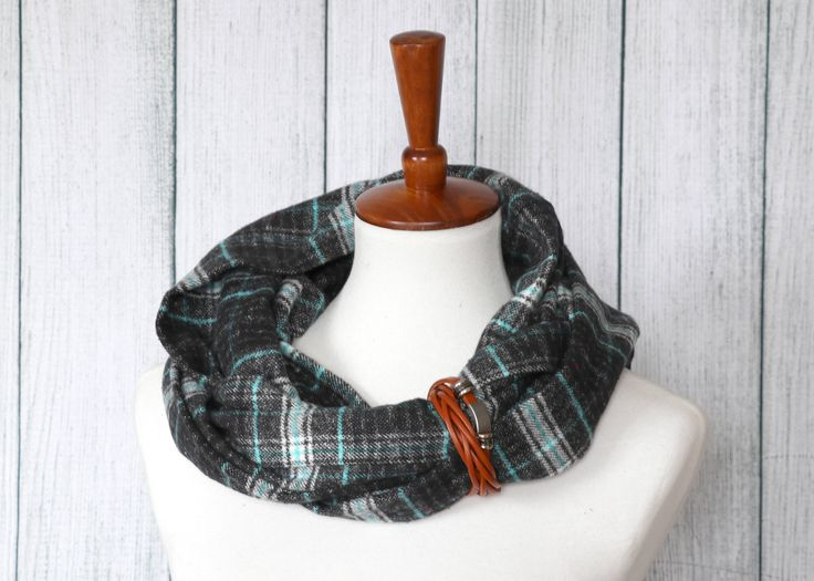 Excited to share the latest addition to my #etsy shop: Flannel Infinity Scarf for Women - Fall Scarf - Womens Scarves - Flannel Scarf - Sugar Creek Mittens - Gray and Blue Plaid Infinity Scarf