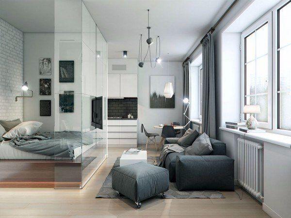 Небольшая квартира (32 кв.м.) с спальней за стеклом.
