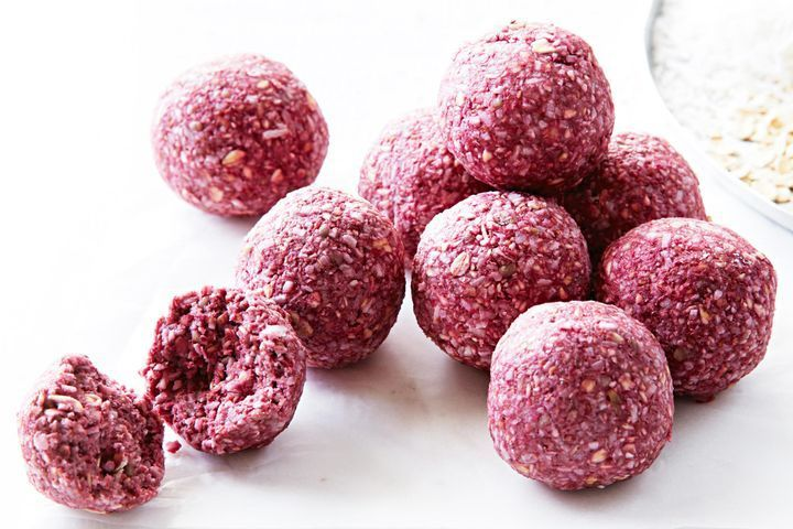 Raspberry smoothie bliss balls