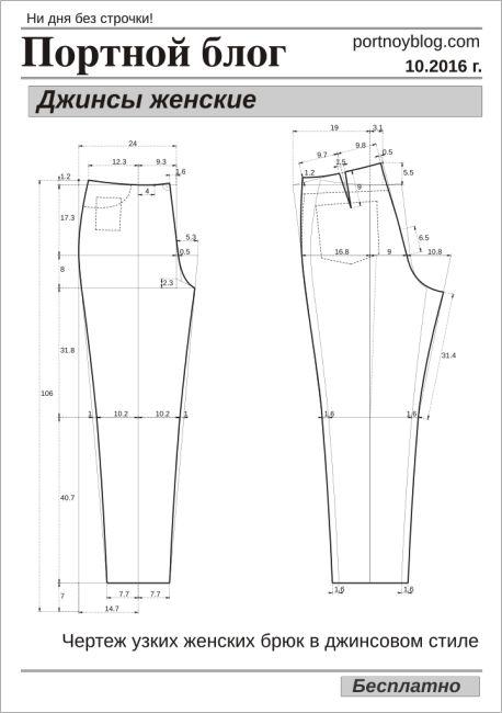 выкройка джинсов женских